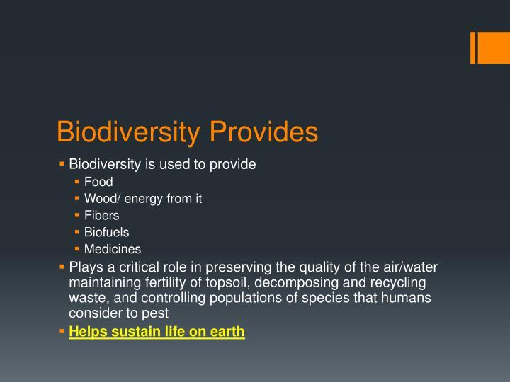 Biodiversity Provides