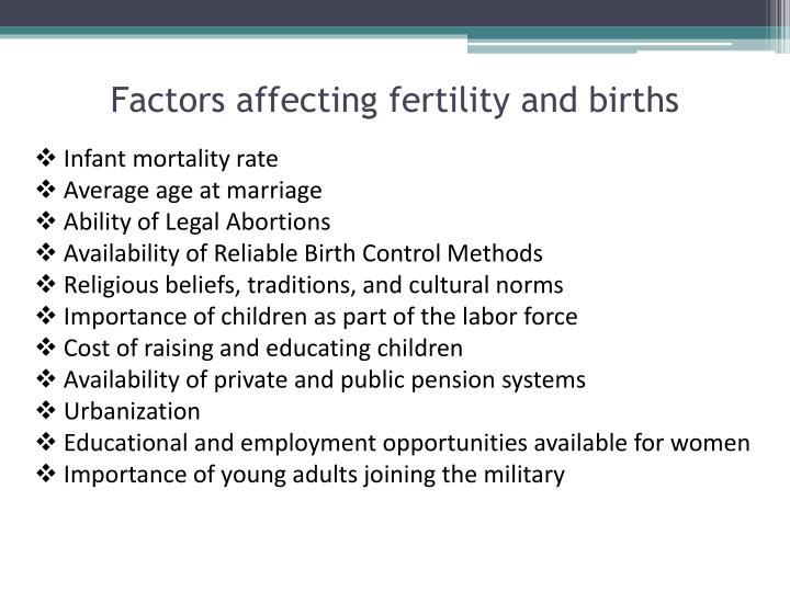 Factors affecting fertility and births