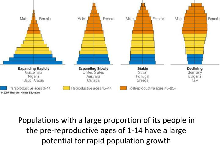 Populations with a large proportion of its people in the pre-reproductive ages of 1-14 have a large potential for rapid population growth
