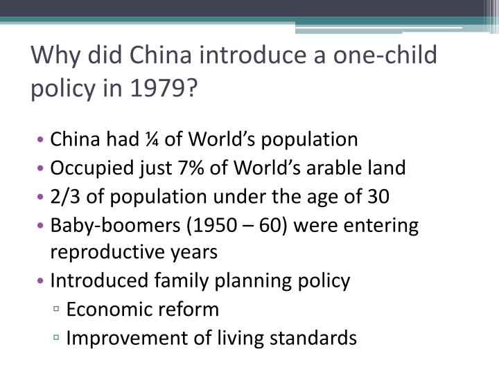 Why did China introduce a one-child policy in 1979?