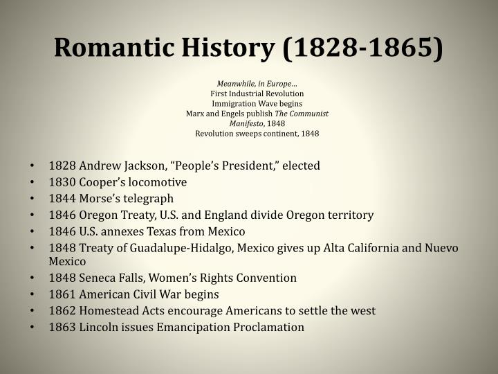 Romantic History (1828-1865)