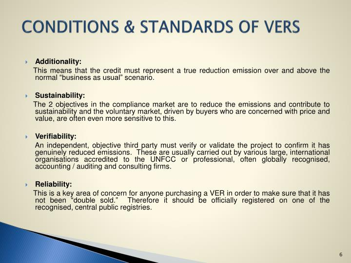 CONDITIONS & STANDARDS OF VERS