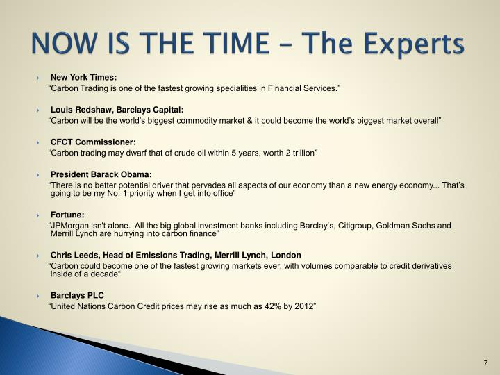 NOW IS THE TIME – The Experts