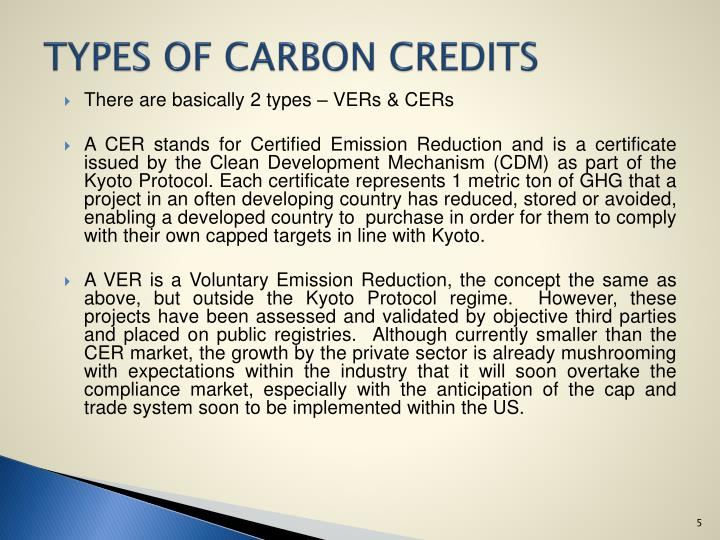 TYPES OF CARBON CREDITS