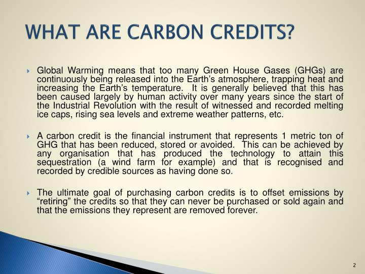 WHAT ARE CARBON CREDITS?