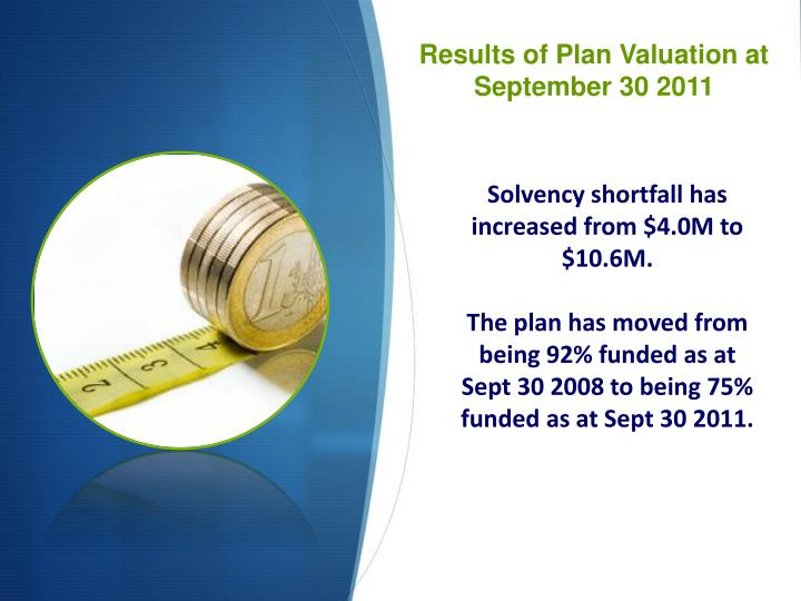 Results of Plan Valuation at