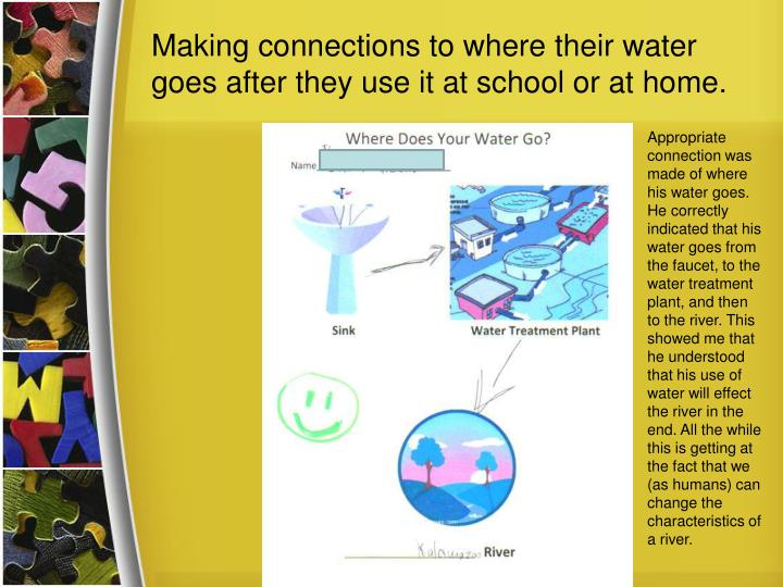Making connections to where their water goes after they use it at school or at home.