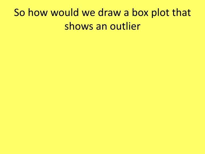 So how would we draw a box plot that shows an outlier
