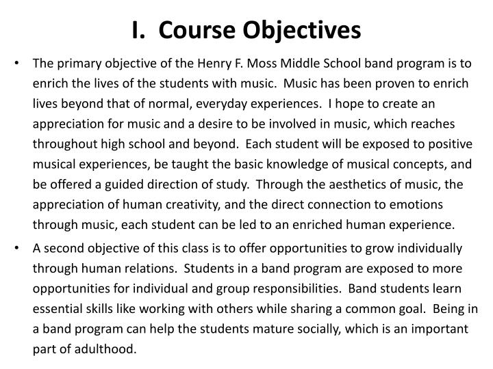 I. Course Objectives