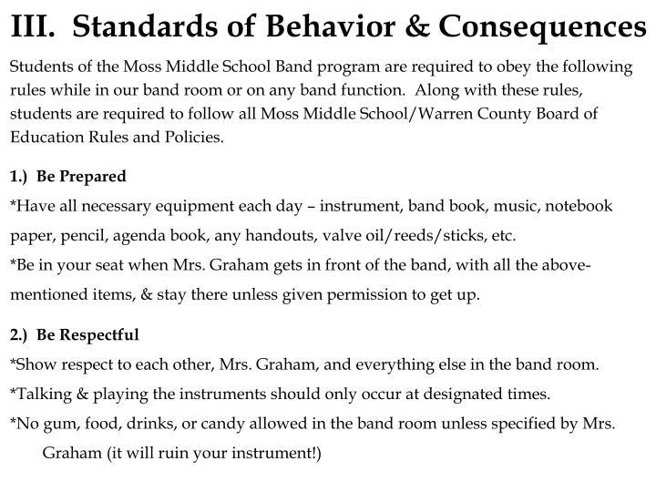 III. Standards of Behavior & Consequences