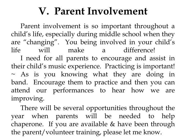 V.  Parent Involvement