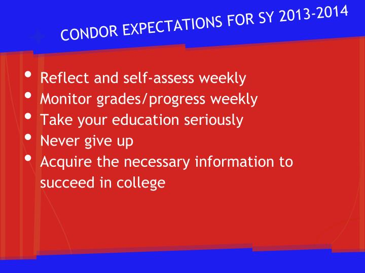 CONDOR EXPECTATIONS FOR SY 2013-2014