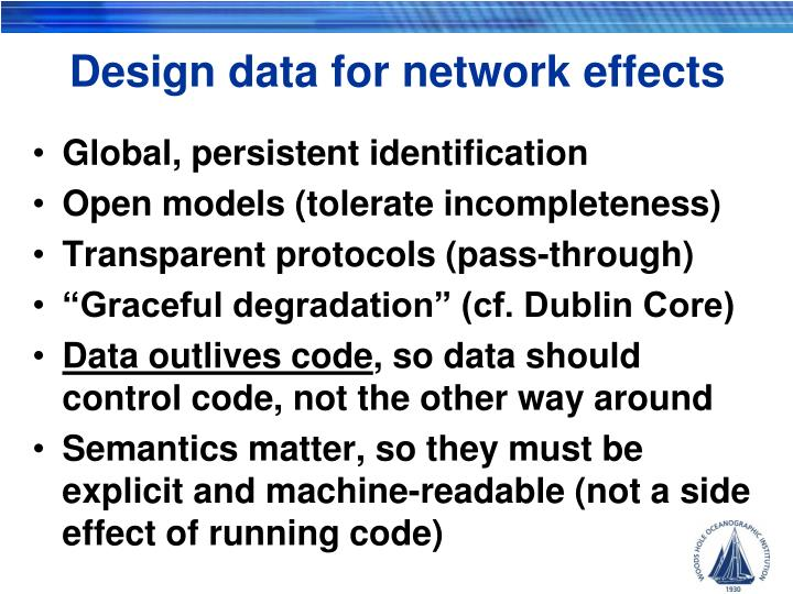 Design data for network effects
