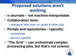 proposed solutions aren t working