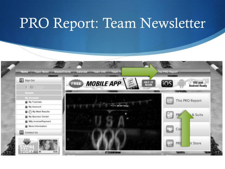 PRO Report: Team Newsletter