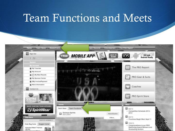 Team Functions and Meets
