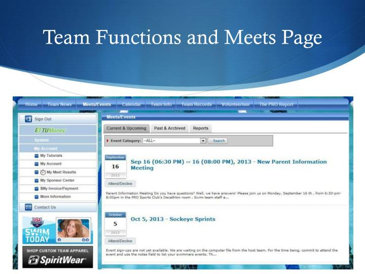 Team Functions and Meets Page