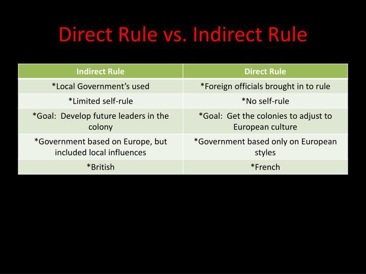 Direct Rule vs. Indirect Rule