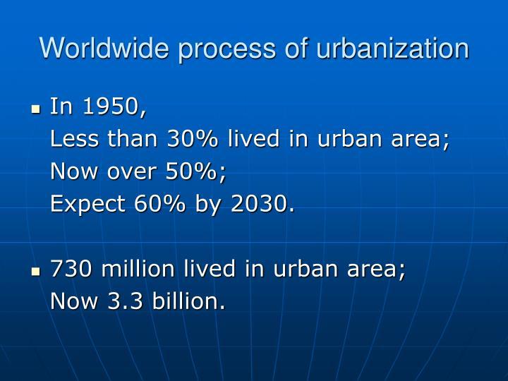 Worldwide process of urbanization