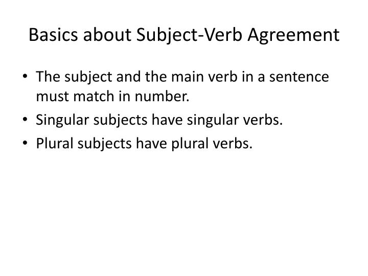 Basics about subject verb agreement