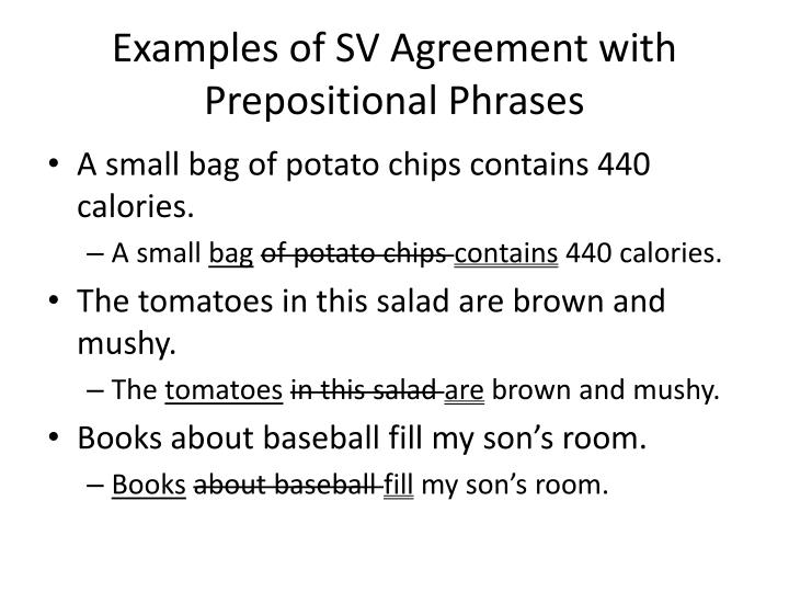 Examples of SV Agreement with Prepositional Phrases