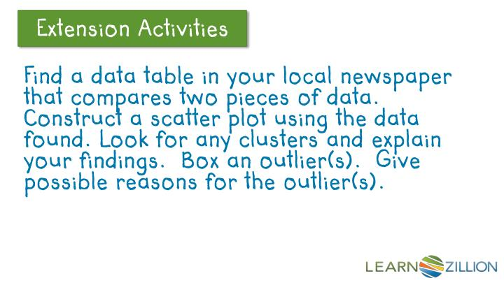 Find a data table in your local newspaper that compares two pieces of data.  Construct a scatter plot using the data found. Look for any clusters and explain your findings.  Box an outlier(s).  Give possible reasons for the outlier(s).
