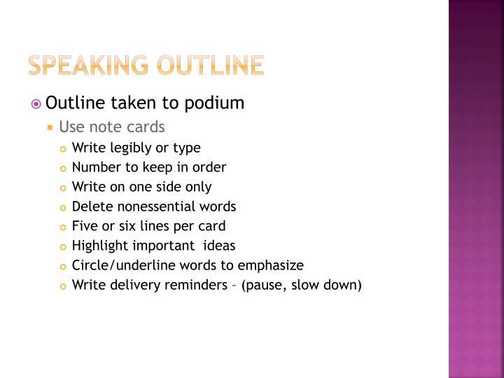 Speaking outline