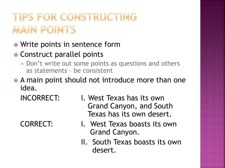 Tips for constructing