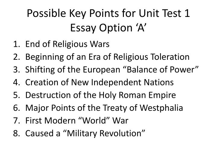 Possible Key Points for Unit Test 1 Essay Option 'A'