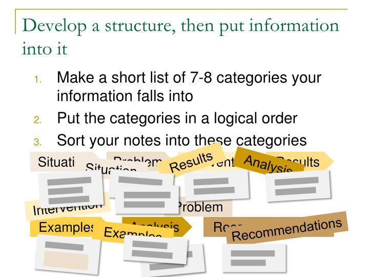 Develop a structure, then put information into it