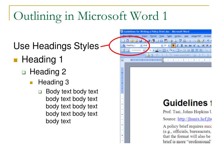 Outlining in Microsoft Word 1