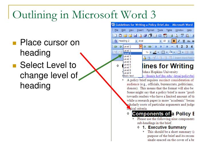 Outlining in Microsoft Word 3