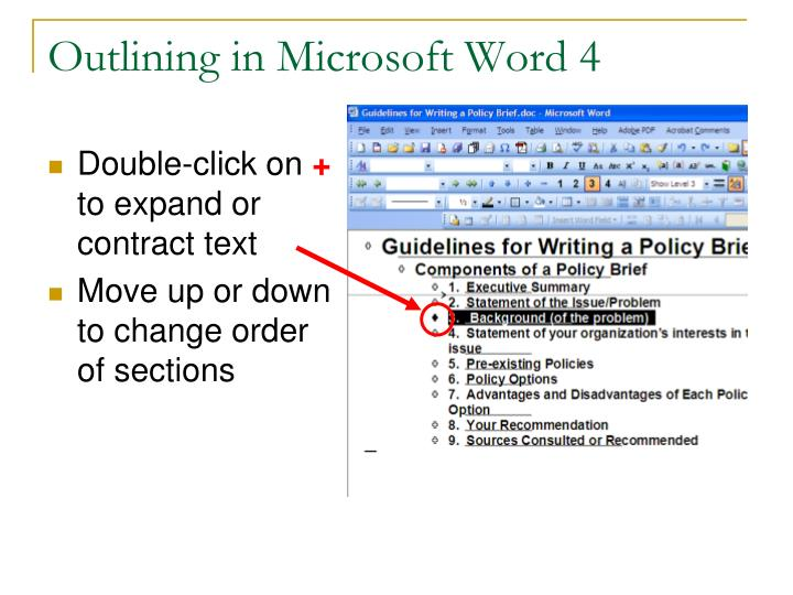 Outlining in Microsoft Word 4