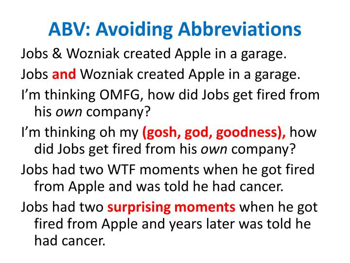 ABV: Avoiding Abbreviations