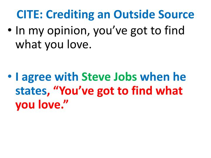 CITE: Crediting an Outside Source