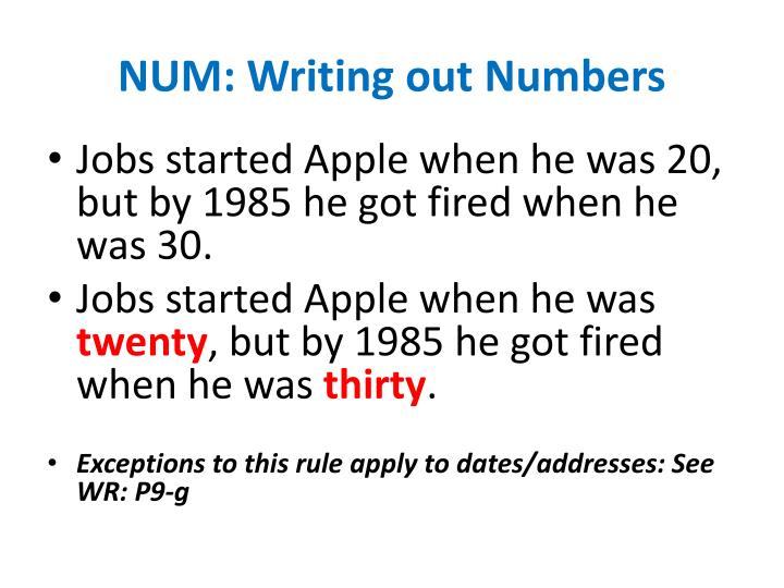 NUM: Writing out Numbers
