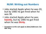num writing out numbers