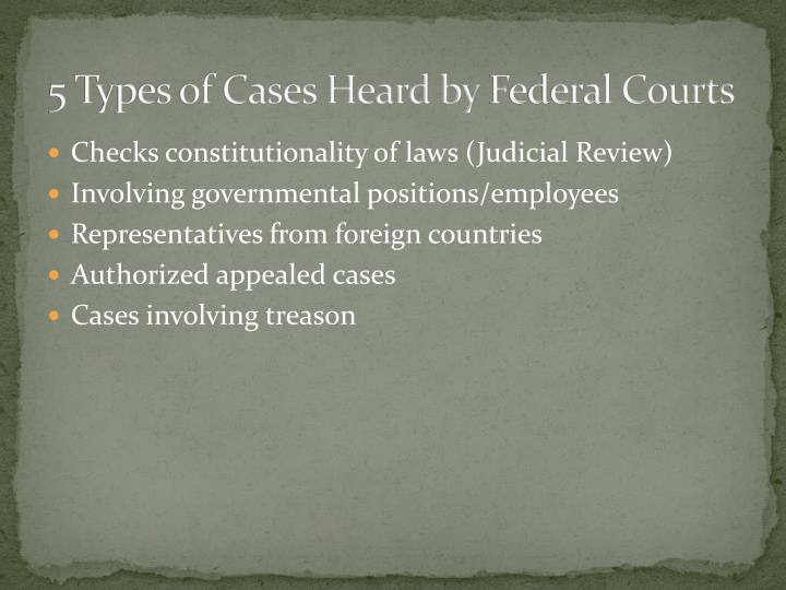 5 Types of Cases Heard by