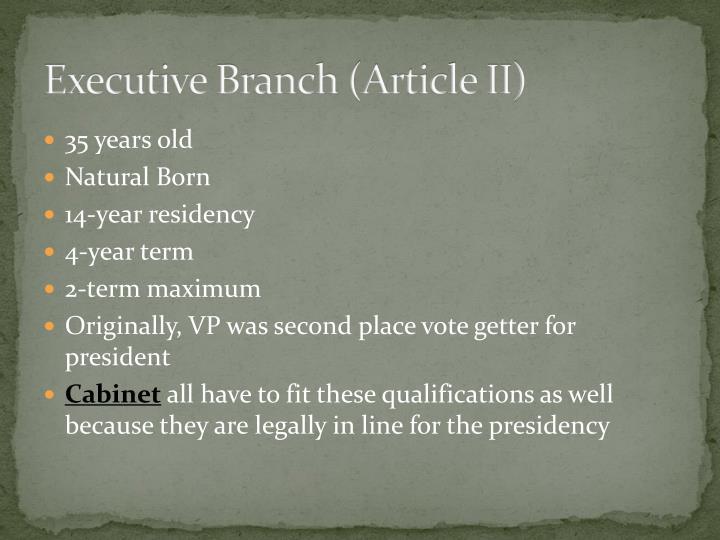 Executive Branch (Article II)