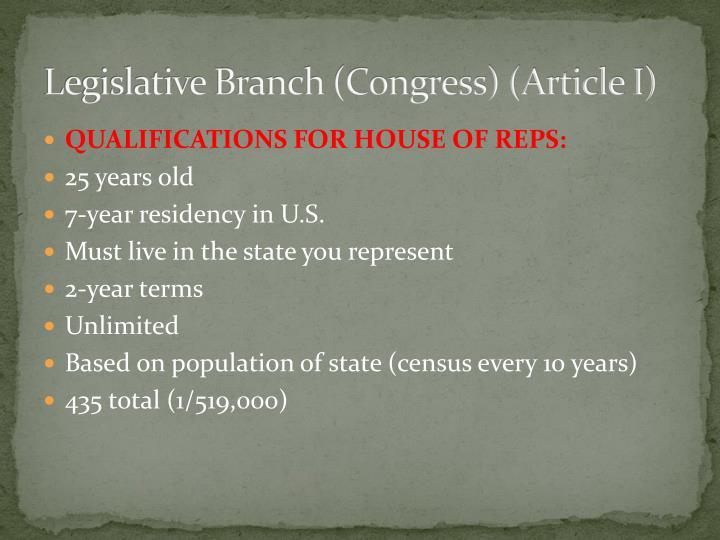 Legislative Branch (Congress) (Article I)