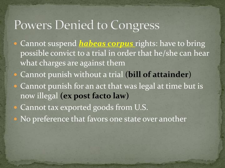 Powers Denied to Congress