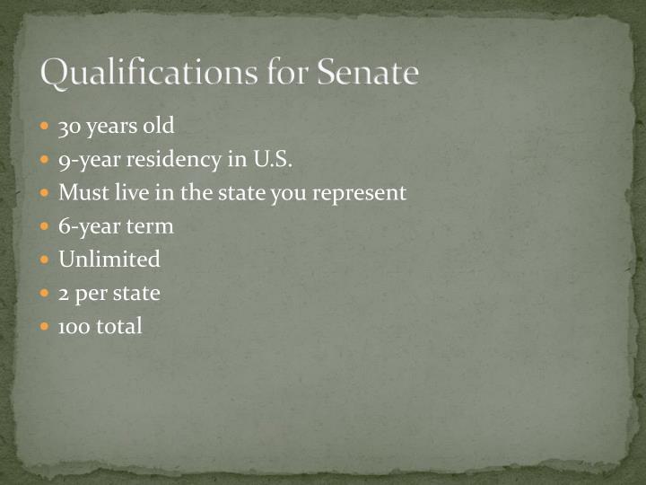 Qualifications for Senate