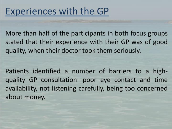Experiences with the GP