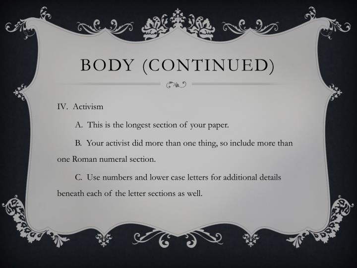 Body (continued)