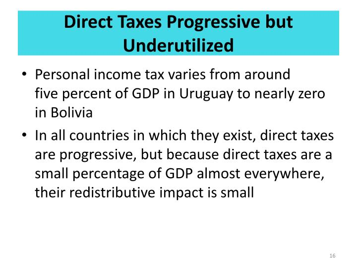 Direct Taxes Progressive but Underutilized