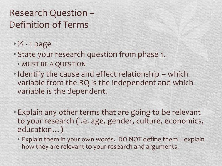 Research Question –