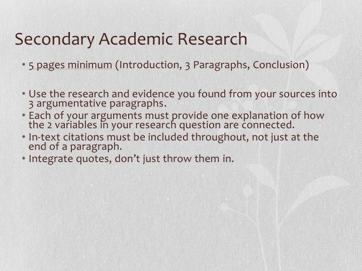 Secondary Academic Research