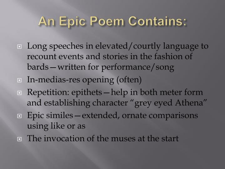 An Epic Poem Contains:
