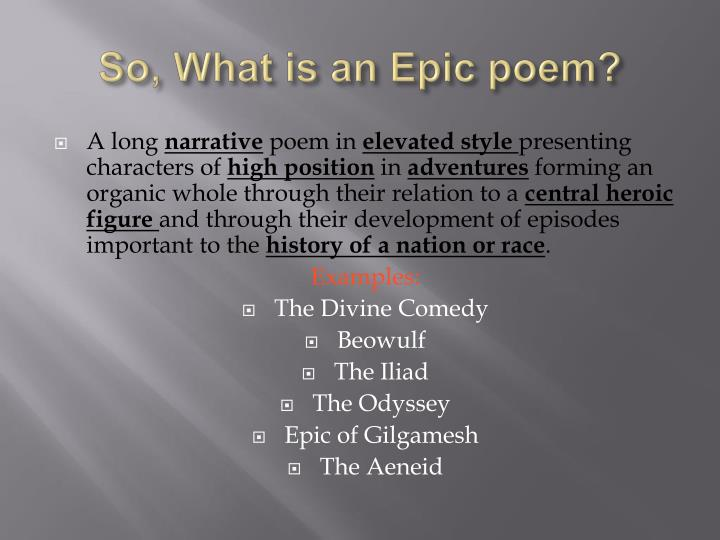 So, What is an Epic poem?