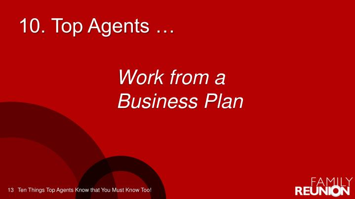 10. Top Agents …
